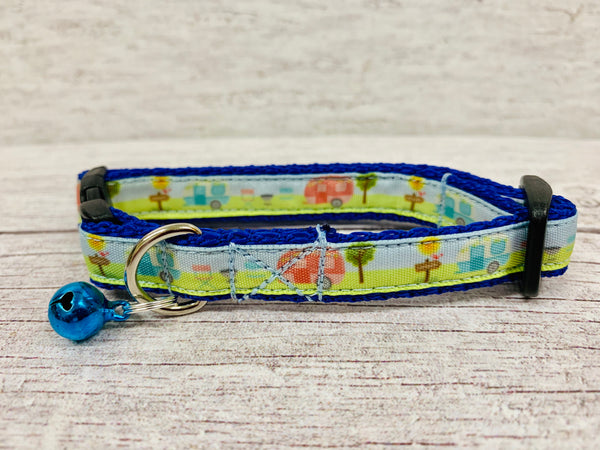 Caravan Holiday Camping Kitten/Cat Collar - Custom Dog Collars