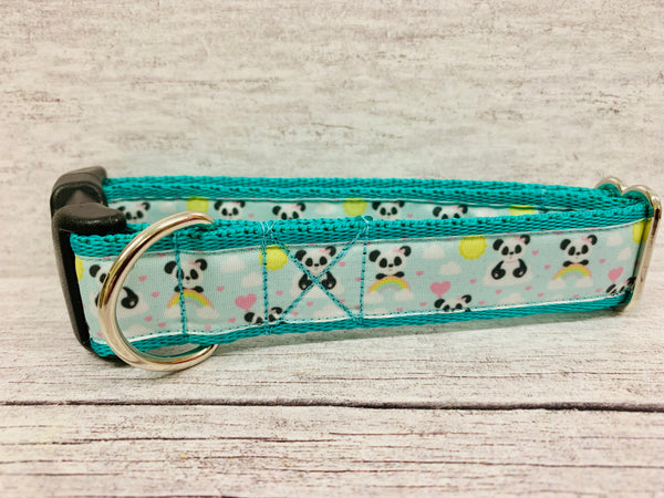 Cute Green Pandas Dog Collar