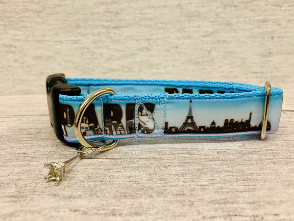 Paris Skyline Dog Collar - Custom Dog Collars
