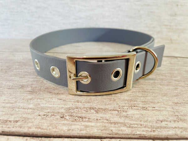 Grey Biothane Waterproof Dog Collar