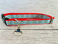 Snowman Faces Christmas Themed Dog Collar