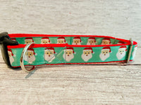 Santa Faces Christmas Themed Dog Collar