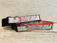 Blue Santa's Little Helper Themed Dog Collar