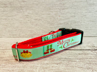 Green Merry Christmas Themed Dog Collar