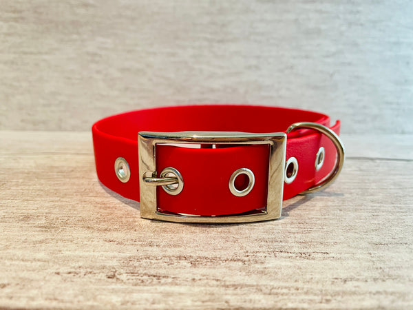 Red Biothane Waterproof Dog Collar