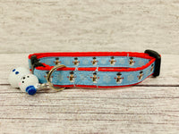 Sky Blue Christmas Snowman and Snowflake Xmas Kitten/Cat Collar