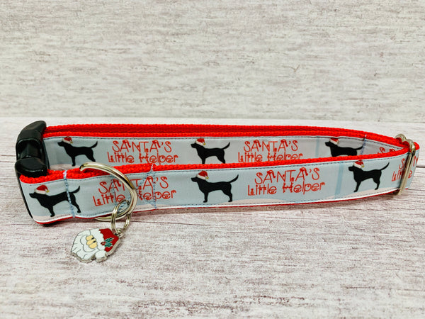 Labrador Santa's Little Helper Christmas Themed Dog Collar - Custom Dog Collars