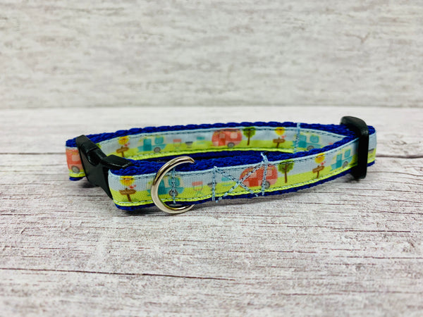 Caravan Holiday Camping Puppy/Small Dog Collar - Custom Dog Collars
