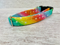 Pastel Rainbow Stars Fabric Dog Collar