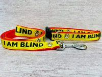 I am Blind Dog Dog Collar - Yellow on Red