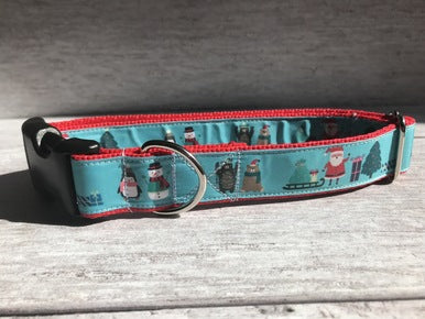 Christmas Santa and Friends Dog Collar - Custom Dog Collars
