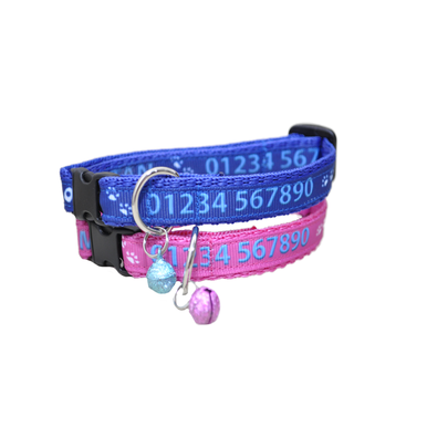 Personalised Custom Name Contact Details Chipped Ribbon Kitten/Cat Collar - Custom Dog Collars