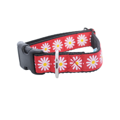 Red Daisy Ribbon Dog Collar - Custom Dog Collars