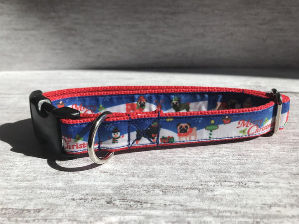 Pug Merry Christmas Santa Dog Collar - Custom Dog Collars