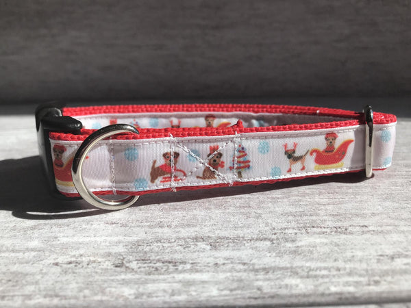 Border Terrier Merry Christmas Santa Dog Collar - Custom Dog Collars