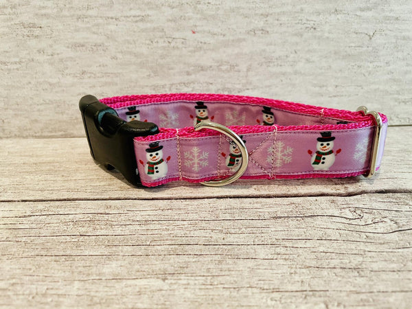 Pink Snowman Snowflake Themed Dog Collar