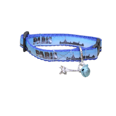 Paris Skyline Puppy/Small Dog Collar - Custom Dog Collars