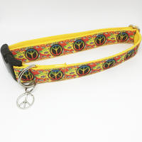 Peace Hippy Style Dog Collar - Custom Dog Collars