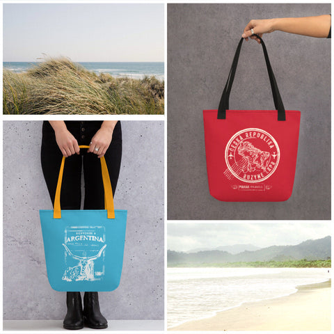 passport collection tote bags