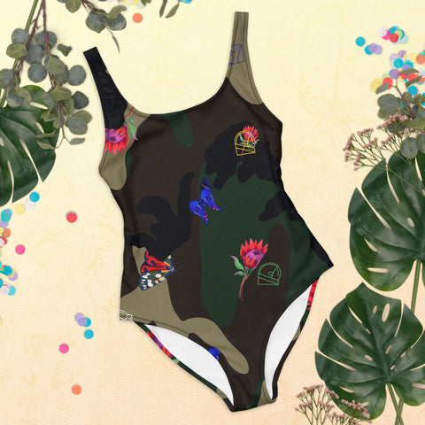 tropical camo one piece bathing suit for the summer of 2021