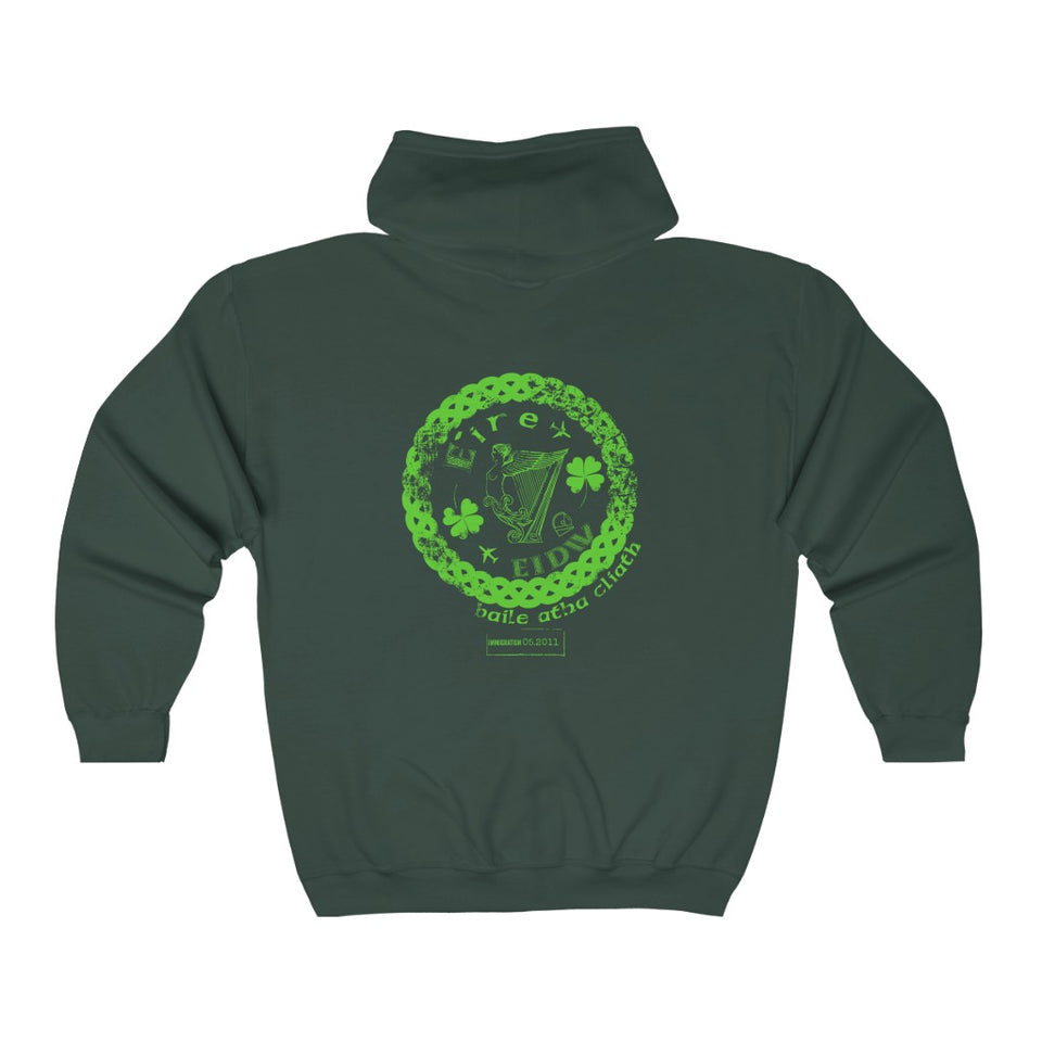 Ireland Unisex Custom Zip-Up Hoodie