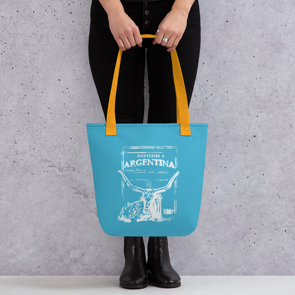 Argentina passport stamp tote bag