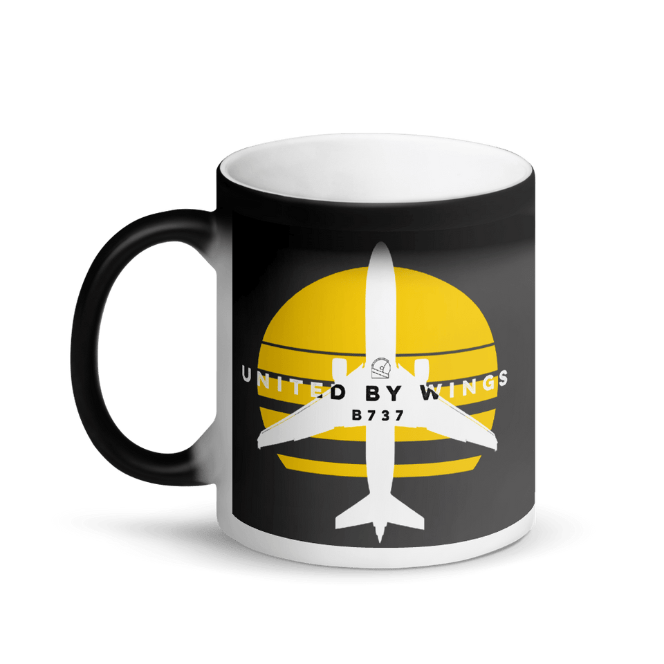 Boeing 737 United by Wings Magic Black Mug - Moondream Studios