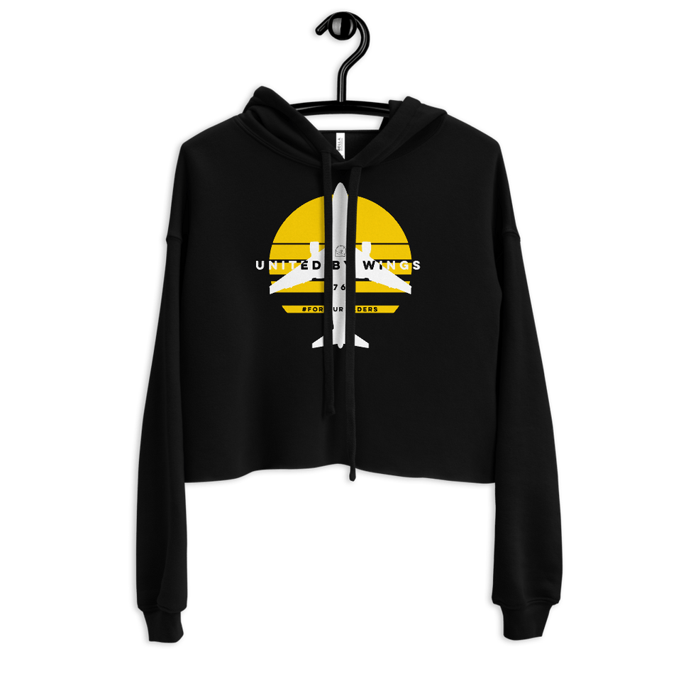 Boeing 767 Women's Crop Hoodie - Moondream Studios Eclipse Apparel Minimalist clothing design
