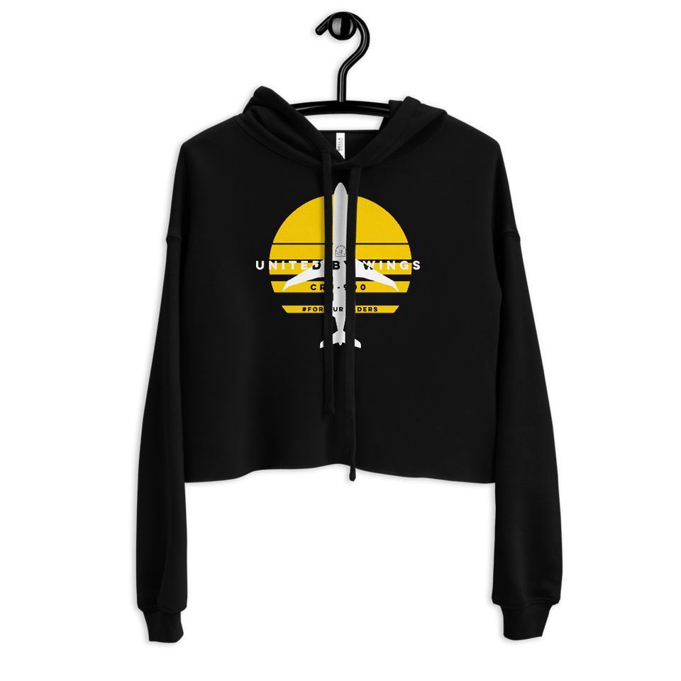 Bombardier CRJ-900 Women's Crop Hoodie - Moondream Studios Eclipse Apparel Minimalist clothing design