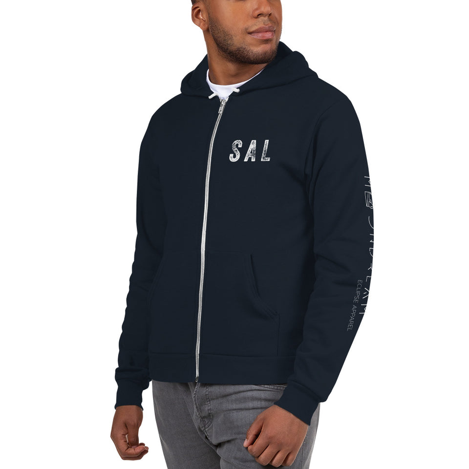 Graphic Hoodie Zip Up El Salvador Passport Stamp Navy Blue