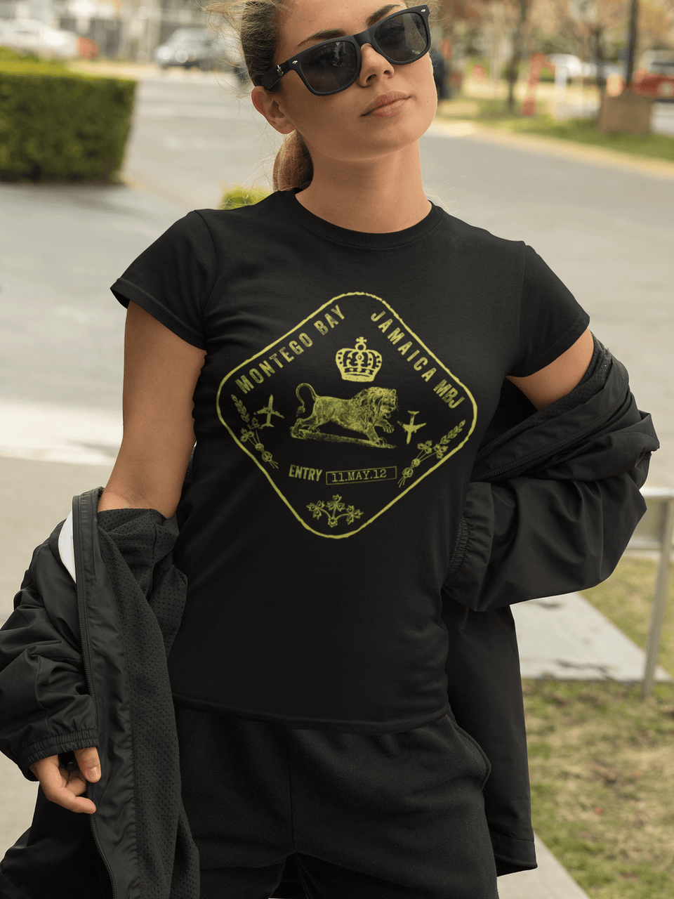 Jamaica passport stamp womens slim fit tee