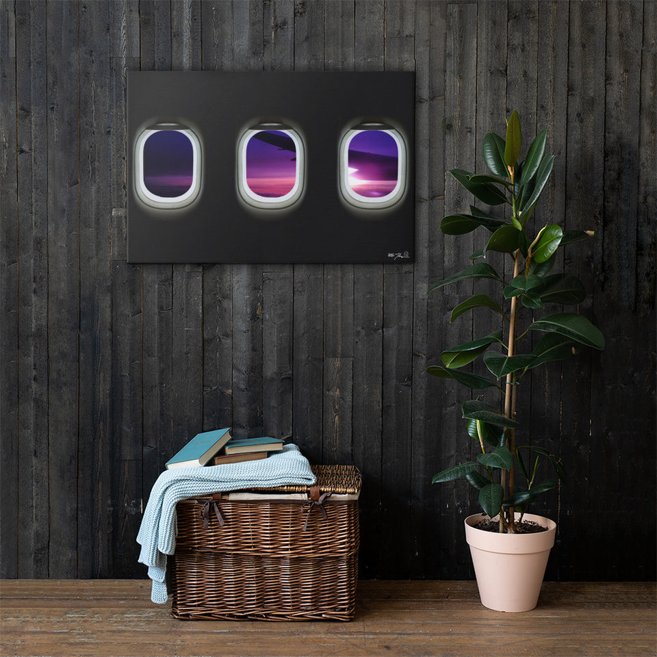 Dreamliner Aircraft Windows Sunset Canvas 24 X 36 Inches