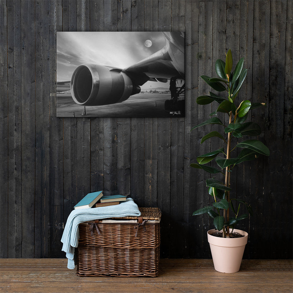 "Boeing 767 Moonrise Canvas 24"" X 36"""