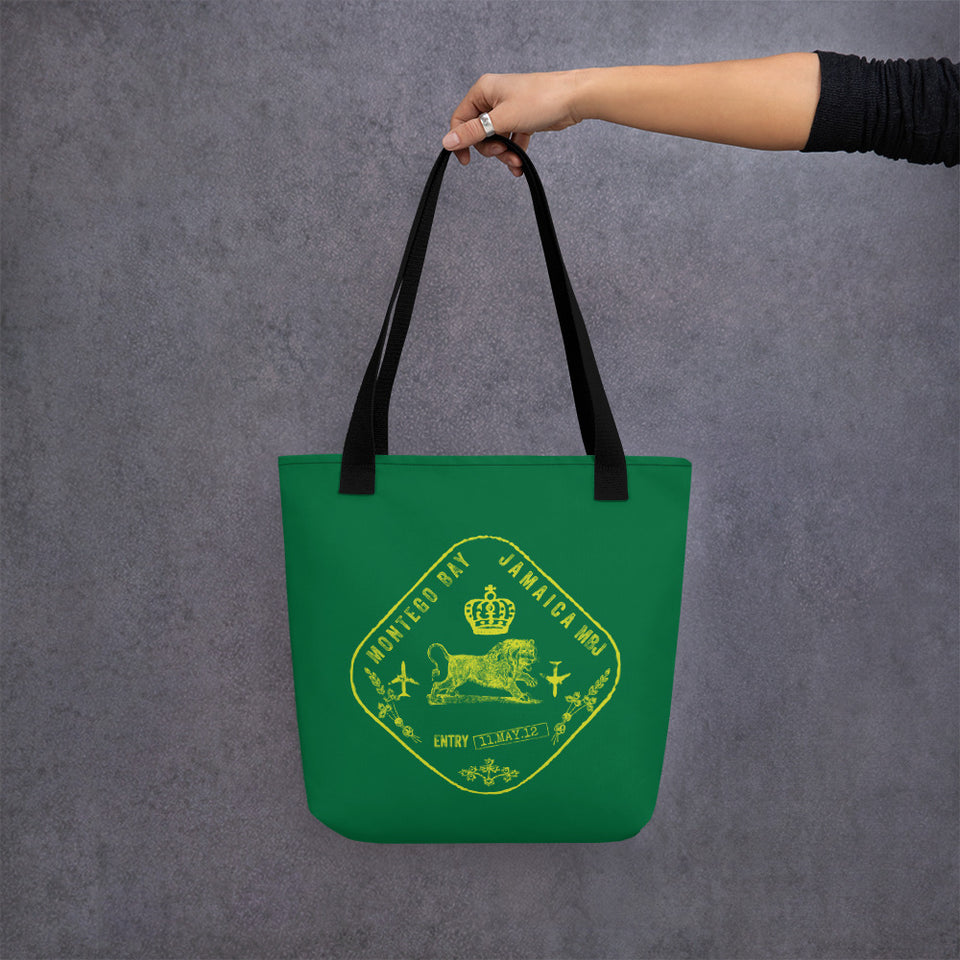 Jamaica passport stamp tote bag