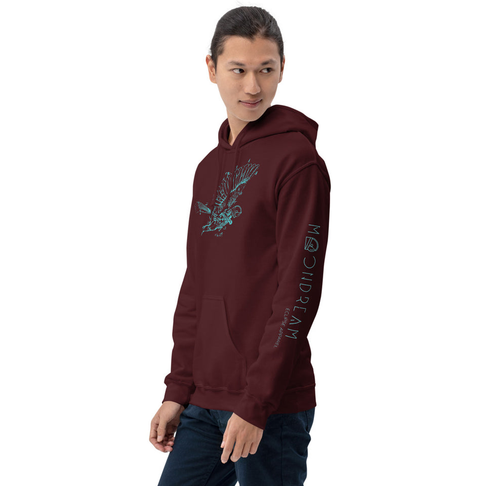 Graphic Hoodie dream of flight Maroon colour