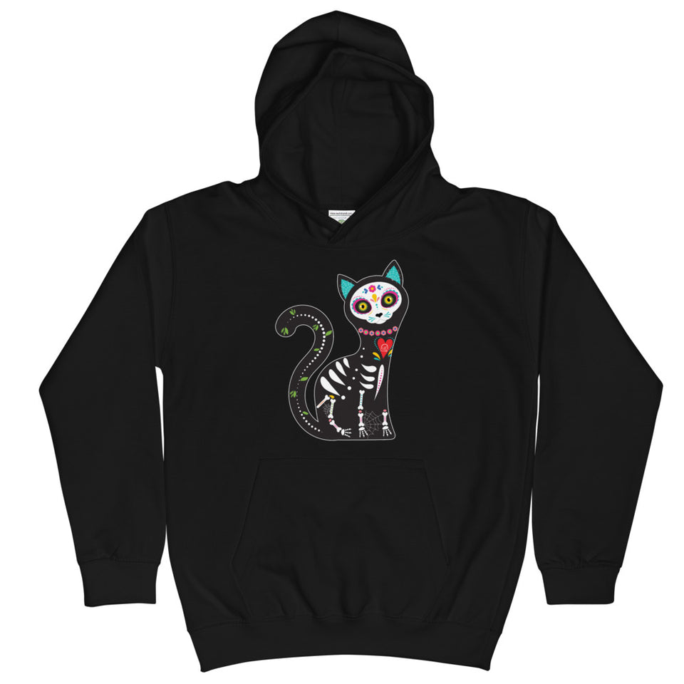 Black Cat Kid's Graphic Hoodie day of the dead