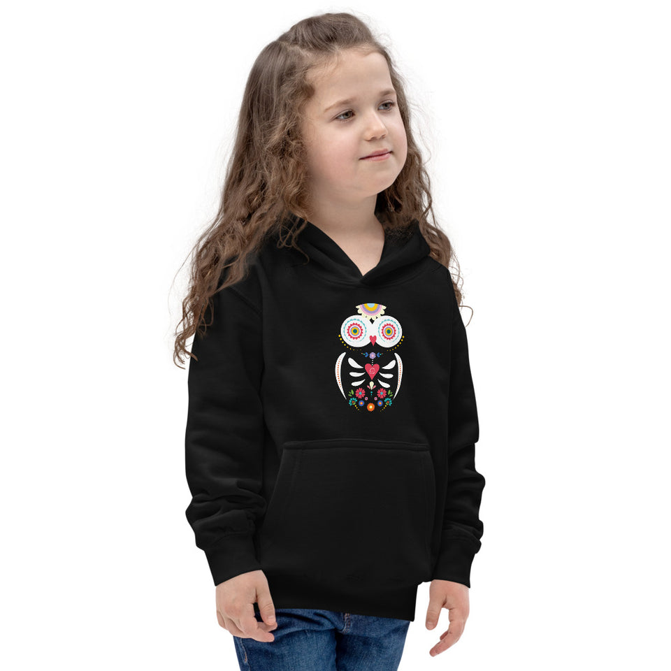 graphic kids hoodie owl day of the dead