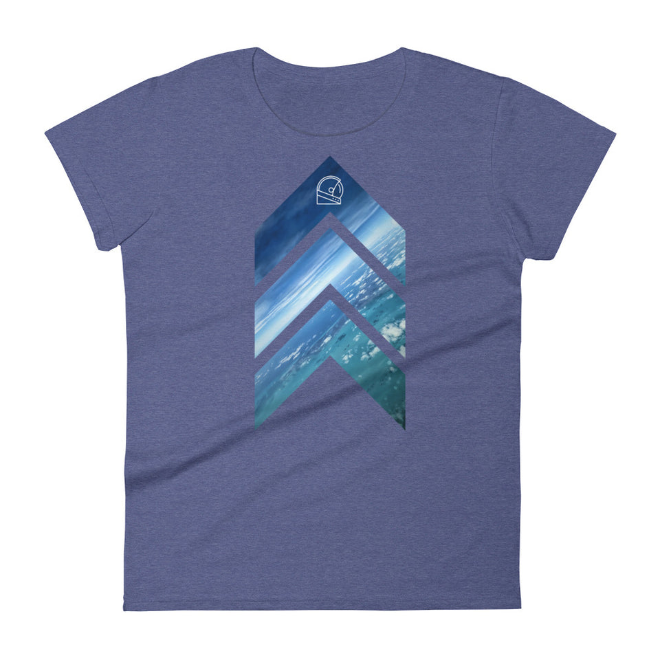 Graphic tee aviation inspired blue shirt for women