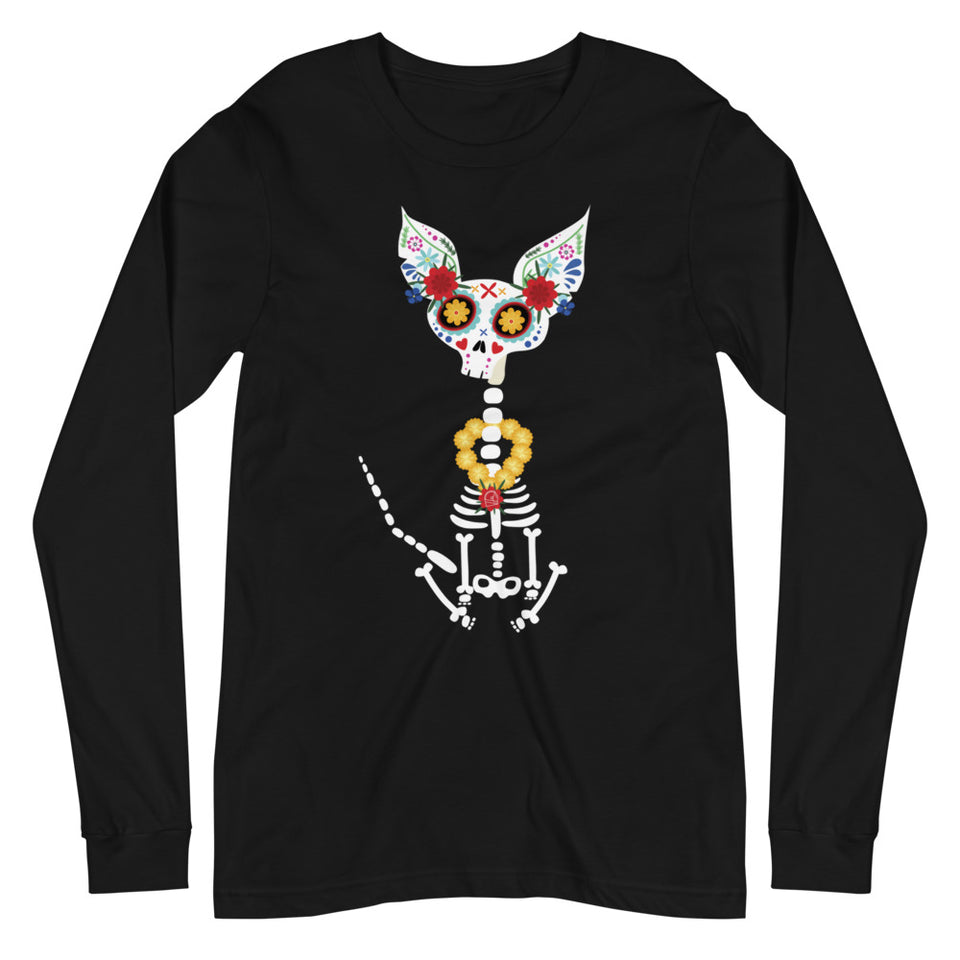 day of the dead skeleton dog long sleeve