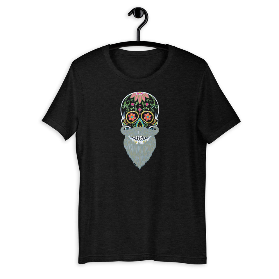 day of the dead unisex graphic tee bearded skull