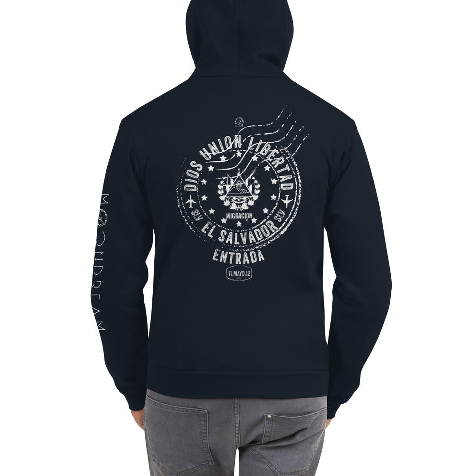 Graphic Hoodie El Salvador Passport Stamp Navy Blue