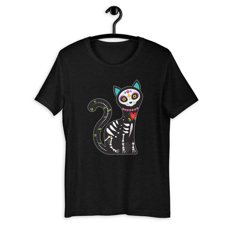 Graphic Tees day of the dead black cat