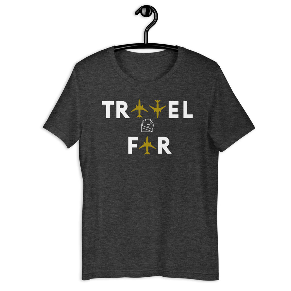 travel far heather grey airplanes aviation custom tee