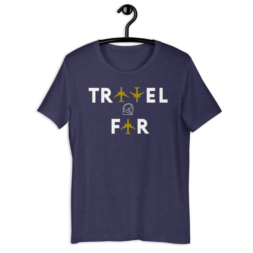 Travel Far Aviation airplanes navy blue heather tee