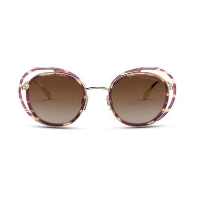 GIORGIO ARMANI Damen Sonnenbrille AR6081 301313 50 STRIPED BROWN/PALE GOLD