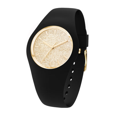 Ice-Watch Damen Uhr IW001355 Ice Glitter Black Gold Medium
