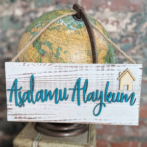 Asalamualaykum Wood Sign (Teal)