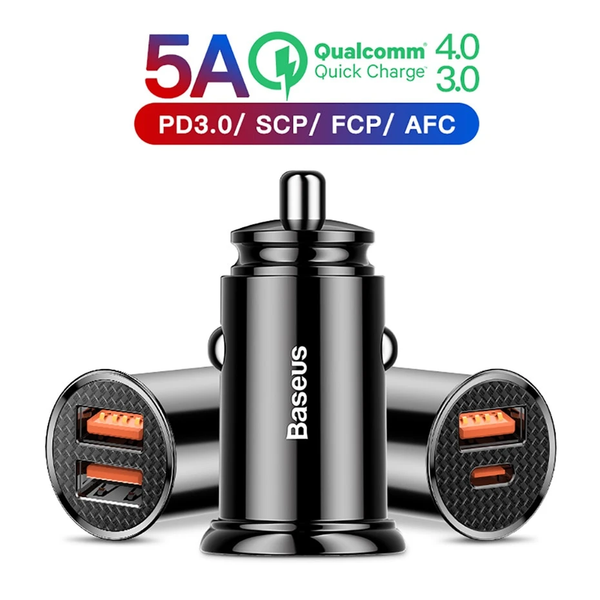 Baseus 30W Quick Charge 4.0 3.0 USB Car Charger For Xiao Mi9 Huawei Supercharge SCP QC4.0 QC3.0 Fast PD USB C Car Phone Charger