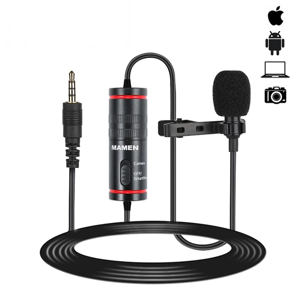 MAMEN 3.5mm Audio Video Record Lavalier Lapel Microphone for iPhone Android Mac Vlog Mic for DSLR Camera Camcorder Recorder