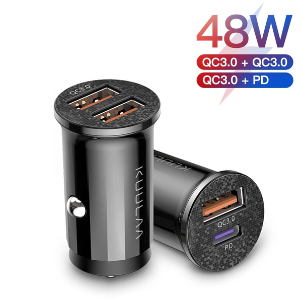 KUULAA Quick Charge 4.0 48W QC PD 3.0 Car Charger for Samsung S10 9 Fast Car Charging for Xiaomi iPhone Mobile Phone USB Charger